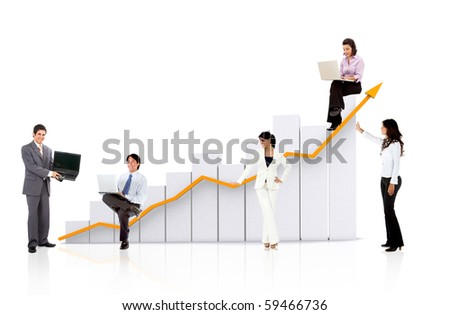 Business team with a chart or graph - isolated over a white background