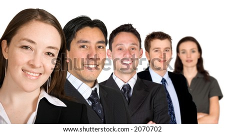 business team with a friendly woman leading - over a white background