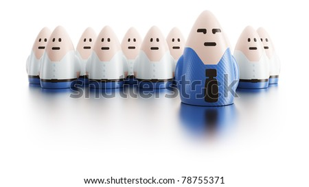 business team with boss ahead, symbolic 3d rendering