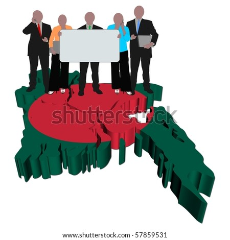 business team with sign on Bangladesh map flag illustration