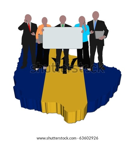 business team with sign on Barbados map flag illustration