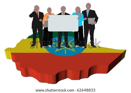 business team with sign on Ethiopia map flag illustration
