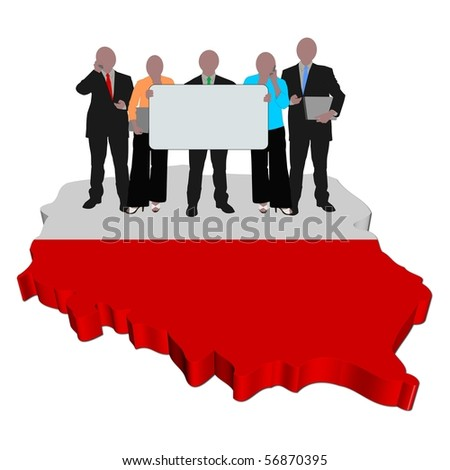 business team with sign on Poland map flag illustration   EZ Canvas