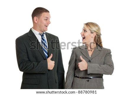 Business team with thumbs up isolated on a white background