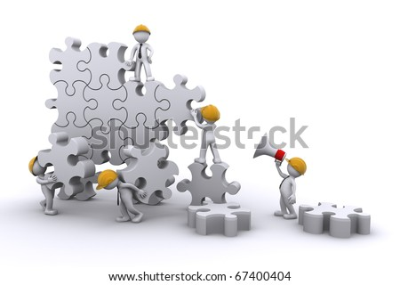 business team work building a puzzle. Business developing concept. Isolated - stock photo