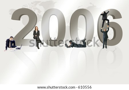 business team work for 2006 - stock photo