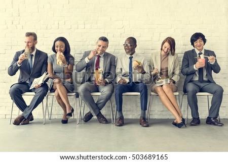 Business Team Working Break Eating Lunch Concept - Shutterstock ID 503689165