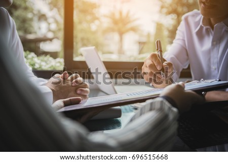 business team working on negotiation to money return on investment from business   #696515668