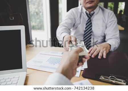 business team working on negotiation to money return on investment from business