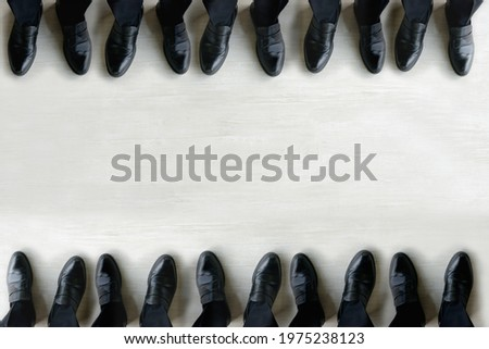 Business teams standing and facing each other Stock photo ©