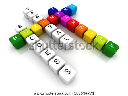 Business Teamwork colorful box  Crossword 3D render