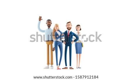 Business teamwork concept. 3d illustration.  Cartoon characters. A working team of professionals.