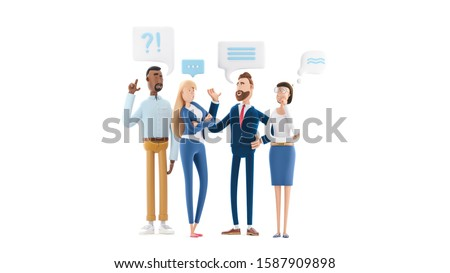 Business teamwork concept. 3d illustration.  Cartoon characters. Business People Group Chat Communication Bubble.