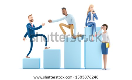 Business teamwork concept. 3d illustration.  Cartoon characters. Career Ladder with Characters