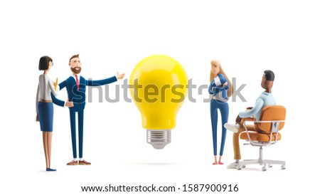 Business teamwork concept. 3d illustration.  Cartoon characters. Team searching for new ideas solutions.