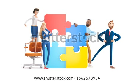 Business teamwork concept on white background.  Cartoon characters. people connecting puzzle elements