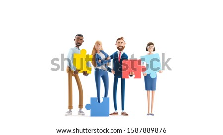Business teamwork concept on white background.  Cartoon characters. people connecting puzzle elements. 3d illustration.