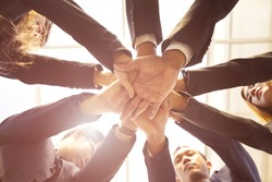 Business Teamwork Making Strong Hands For Business Collaboration  and Integrity of Work together. Corporate Teams Promote of Mission. Key of Success of Team Business Project, Mission Complete Concept