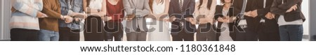 Business teamwork, partnership and brainstorm concept. Creative team meeting hands together startup friends creative people sale project panoramic banner.
