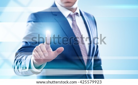 business, technology and internet concept - businessman pressing transparent button on virtual screens. Template for text.