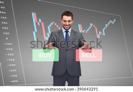 business, technology, finance and people concept - smiling businessman or stock broker over forex chart projection