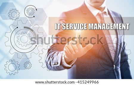 business, technology, information technology, internet and virtual reality concept - businessman pressing it service management button on virtual screens with hexagons and transparent honeycomb #415249966