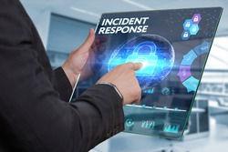 Business, Technology, Internet and network concept. Business man working on the tablet of the future, select on the virtual display: INCIDENT RESPONSE