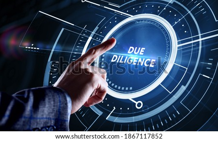 Business, Technology, Internet and network concept. Businessman working on the tablet of the future, select on the virtual display: Due diligence Foto stock ©