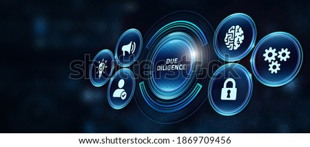 Business, Technology, Internet and network concept. Businessman working on the tablet of the future, select on the virtual display: Due diligence 3d illustration Foto stock ©