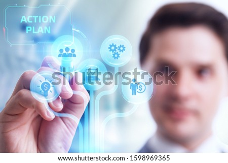 Business, Technology, Internet and network concept. Concept meaning proposed strategy or course of actions for certain time.