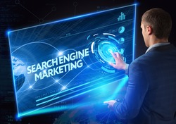 Business, Technology, Internet and network concept. Technology future. Young businessman, working on the smartphone of the future, clicks on the virtual display button: Searchengine Marketing