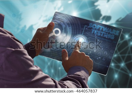 Business, Technology, Internet and network concept . Young business man working on the tablet of the future , select the virtual screen : software testing