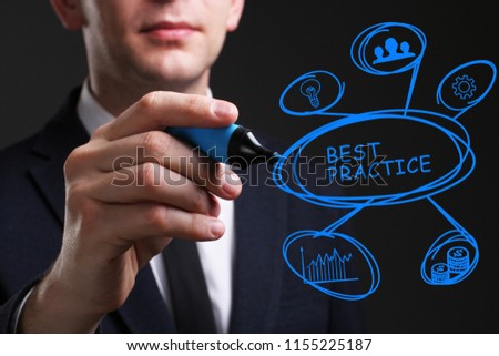 Business, Technology, Internet and network concept. Young business man writing word: Best practice