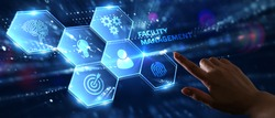 Business, Technology, Internet and network concept. Young businessman shows the word on the virtual display of the future: Facility management