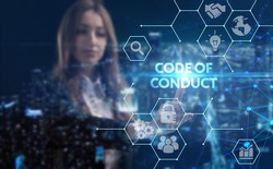 Business, technology, internet and network concept. Young businessman thinks over the steps for successful growth: Code of conduct