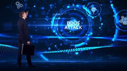 Business, technology, internet and network concept. Young businessman thinks over the steps for successful growth: Ddos attack