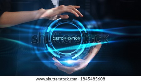 Business, technology, internet and network concept. Young businessman thinks over the steps for successful growth: Customization Stock photo ©