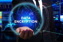 Business, Technology, Internet and network concept. Young businessman working in the field of the future, he sees the inscription: data encryption