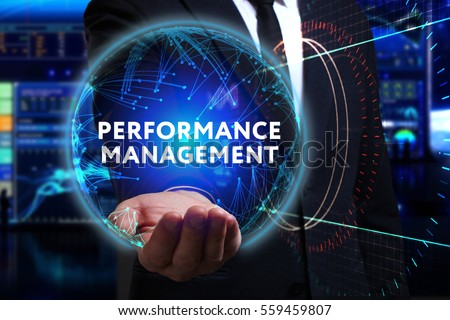 Business, Technology, Internet and network concept. Young businessman working in the field of the future, he sees the inscription: performance management  #559459807