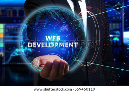 Business, Technology, Internet and network concept. Young businessman working in the field of the future, he sees the inscription: web development  #559460119