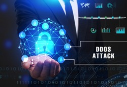 Business, Technology, Internet and network concept. Young businessman working on a virtual screen of the future and sees the inscription: Ddos attack