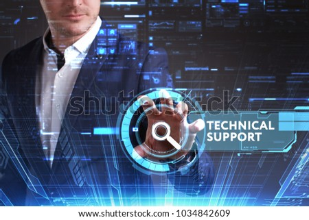 Business, Technology, Internet and network concept. Young businessman working on a virtual screen of the future and sees the inscription: Technical support #1034842609