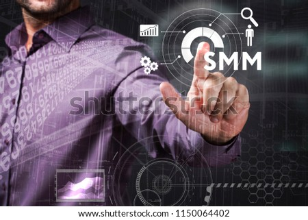 Business, Technology, Internet and network concept. Young businessman working on a virtual screen of the future and sees the inscription: SMM