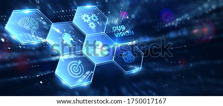 Business, Technology, Internet and network concept. Young businessman working on a virtual screen of the future and sees the inscription: Our vision. 3D illustration.  Foto stock ©