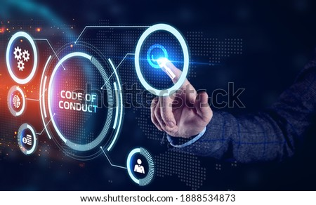 Business, Technology, Internet and network concept. Young businessman working on a virtual screen of the future and sees the inscription: Code of conduct Сток-фото ©