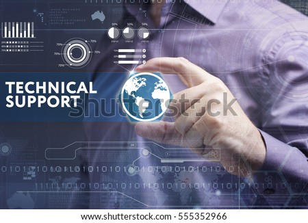 Business, Technology, Internet and network concept. Young businessman working on a virtual screen of the future and sees the inscription: technical support #555352966
