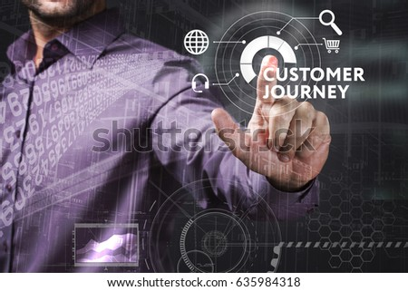 Business, Technology, Internet and network concept. Young businessman working on a virtual screen of the future and sees the inscription: Customer journey #635984318