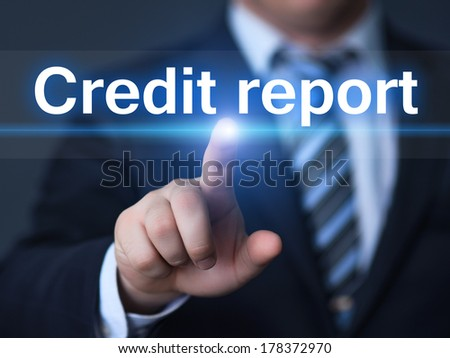 business, technology, internet and networking concept - businessman pressing credit report button on virtual screens