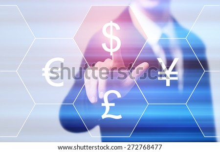 business, technology, internet and networking concept - businessman pressing dollar button on virtual screens #272768477