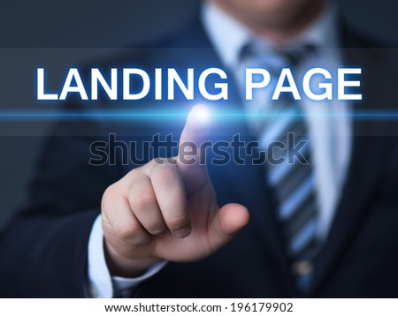 business, technology, internet and networking concept - businessman pressing landing page button on virtual screens